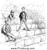 Clip Art of Vintage Men in the Amphitheatre in Verona in Black and White by Picsburg
