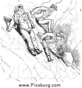 Clip Art of Vintage Men Scooting down a Mountain in Black and White by Picsburg