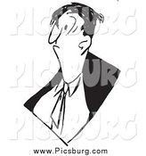 Vector Clip Art of a Black and White Grumpy Business Man by Picsburg
