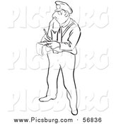 Vector Clip Art of a Black and White Lineart Police Officer Writing a Ticket by Picsburg
