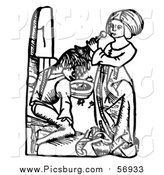 Vector Clip Art of a Black and White Medieval Woman Cleansing a Man's Scalp of Dandruff or Headlice with Broom-Rape by Picsburg