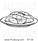 Vector Clip Art of a Black and White Plate of Cookies by Picsburg