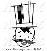 Vector Clip Art of a Black and White Retro Boy with a Mustache and Top Hat by Picsburg