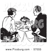 Vector Clip Art of a Black and White Retro Couple Dining by Picsburg