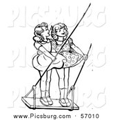 Vector Clip Art of a Black and White Retro Girls Standing on a Swing by Picsburg