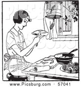 Vector Clip Art of a Black and White Retro Lady Making Apple Pie by Picsburg