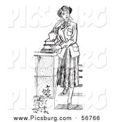 Vector Clip Art of a Black and White Retro Teenage Girl Standing with Books on Steps by Picsburg