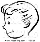 Vector Clip Art of a Happy Bw Retro Boy Face in Profile by Picsburg
