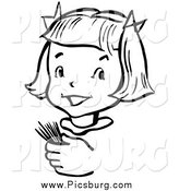 Vector Clip Art of a Happy Retro Black and White Girl Holding Toothpicks by Picsburg