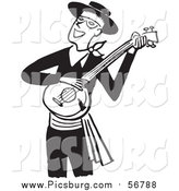 Vector Clip Art of a Retro Black and White Man Smiling and Playing a Banjo by Picsburg