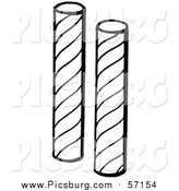 Vector Clip Art of Black and White Stick Candy by Picsburg