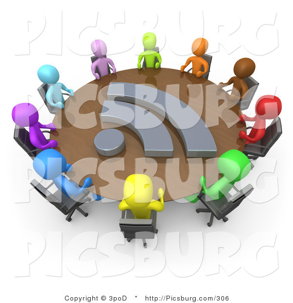 Clip Art of 3d Diverse People at a RSS Meeting Table