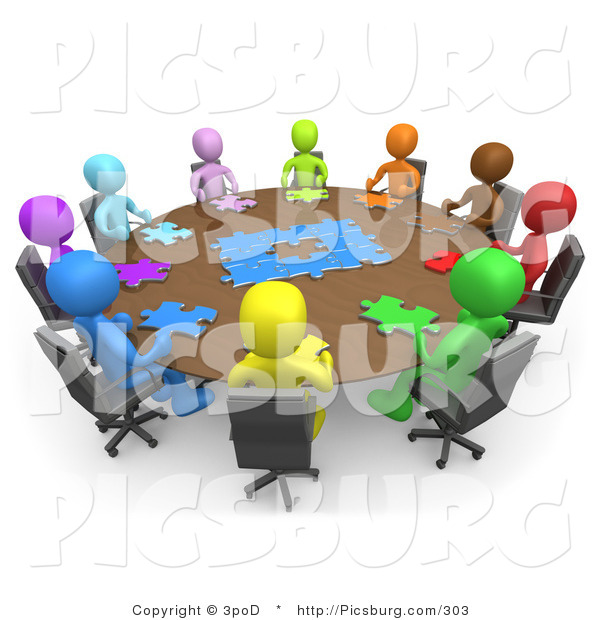 Clip Art of 3d People Holding a Meeting and Trying to Solve a Jigsaw Around a Large Rectangular Conference Table in an Office