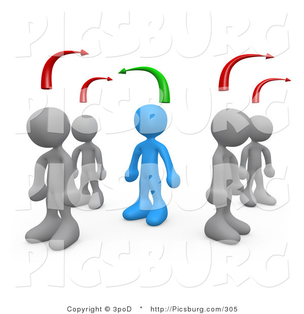 Clip Art of 3d People Thinking Differently from Others