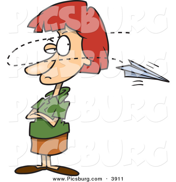 Clip Art of a Annoyed Red Haired Businesswoman near a Paper Airplane