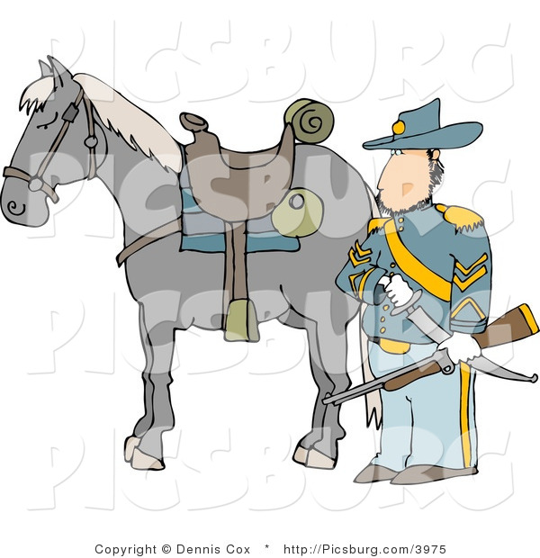 Clip Art of a Armed Union Soldier Standing Beside His Horse on a Battlefield and Holding a Musket