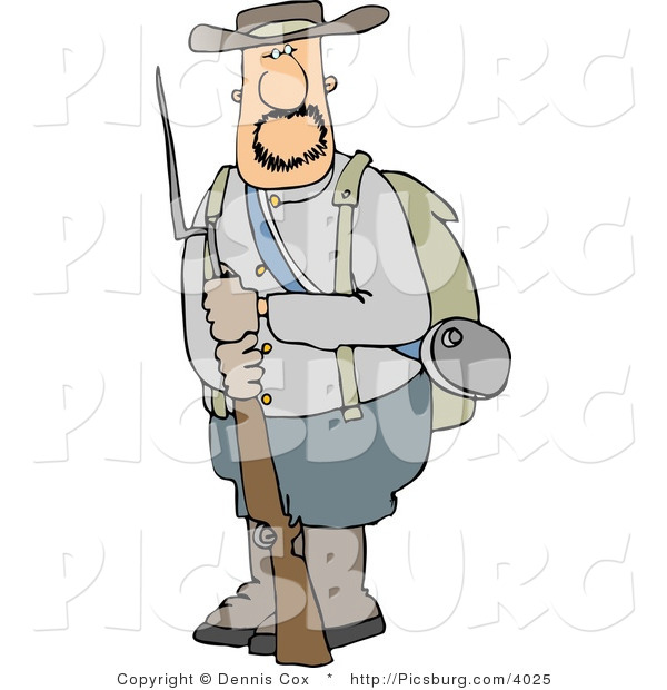 Clip Art of a Bearded Confederate Army Soldier Holding a Rifle with a Bayonet