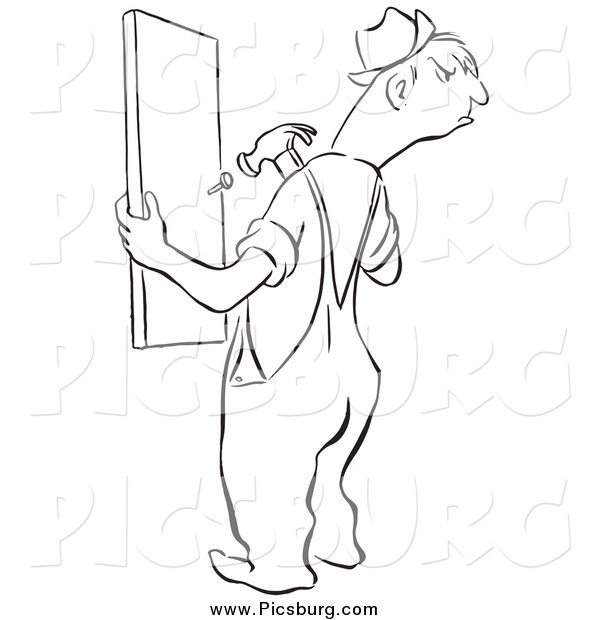 Clip Art of a Black and White Angry Man Repairing a Fence