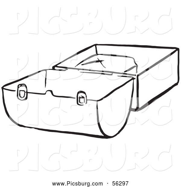 Clip Art of a Black and White Lunch Box