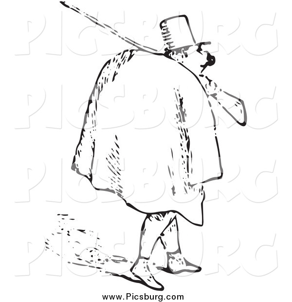 Clip Art of a Black and White Man Carrying a Rifle