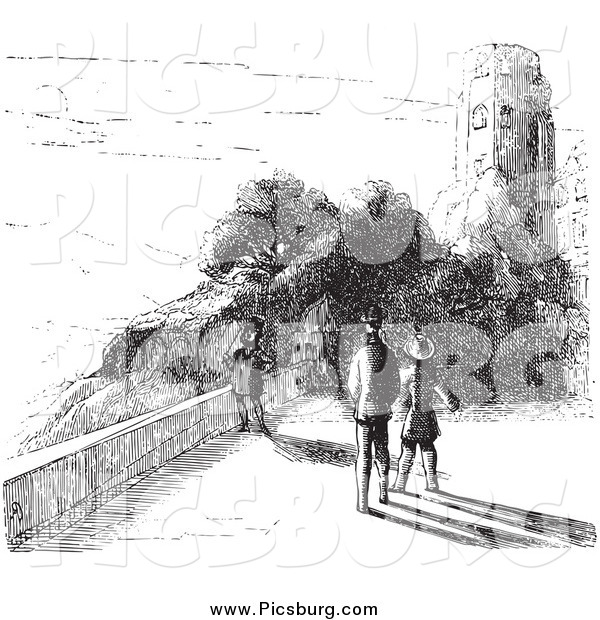 Clip Art of a Black and White People by Castle Ruins in Black and White