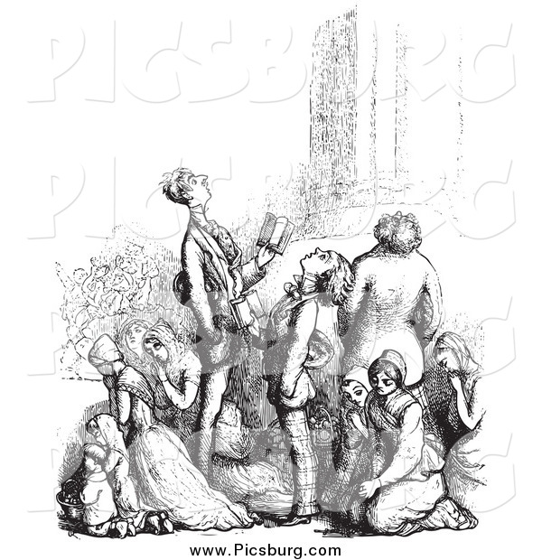Clip Art of a Black and White Retro Group of People in Prayer