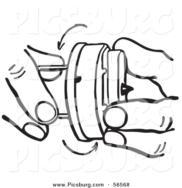 Clip Art of a Black and White Retro Pair of Hands Winding a Novelty Hand Buzzer Prank Toy