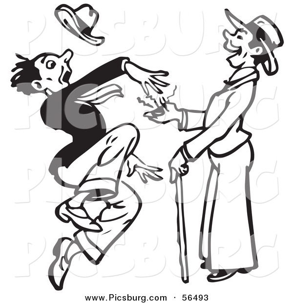 Clip Art of a Black and White Retro Surprised Man Leaping from a Prank Buzzer Toy