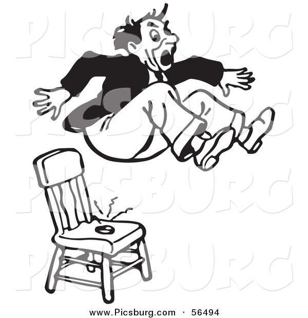 Clip Art of a Black and White Retro Surprised Pranked Man Jumping out of a Shocking Chair