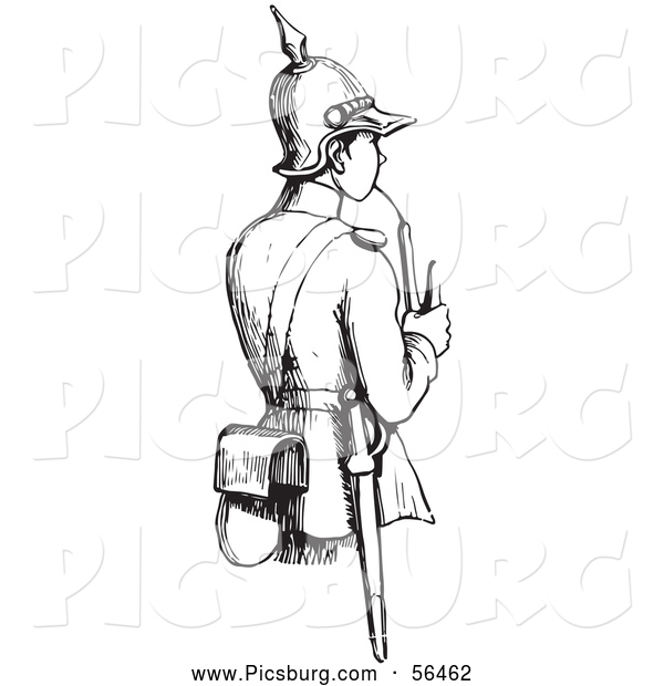 Clip Art of a Black and White Soldier Smoking a Pipe