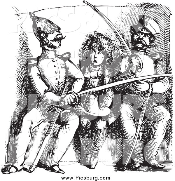 Clip Art of a Black and White Vintage Boy Between Soldiers Comparing Swords