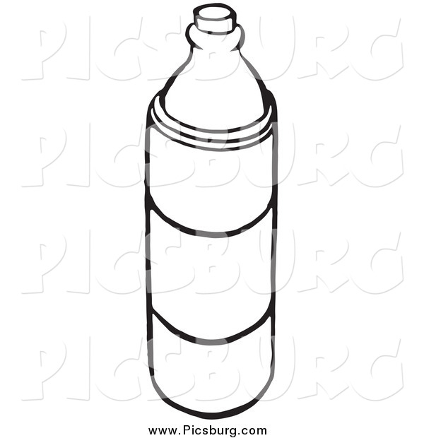 Clip Art of a Black and White Water Bottle