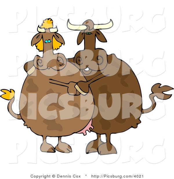 Clip Art of a Brown Male and Female Cow Couple Dancing Together
