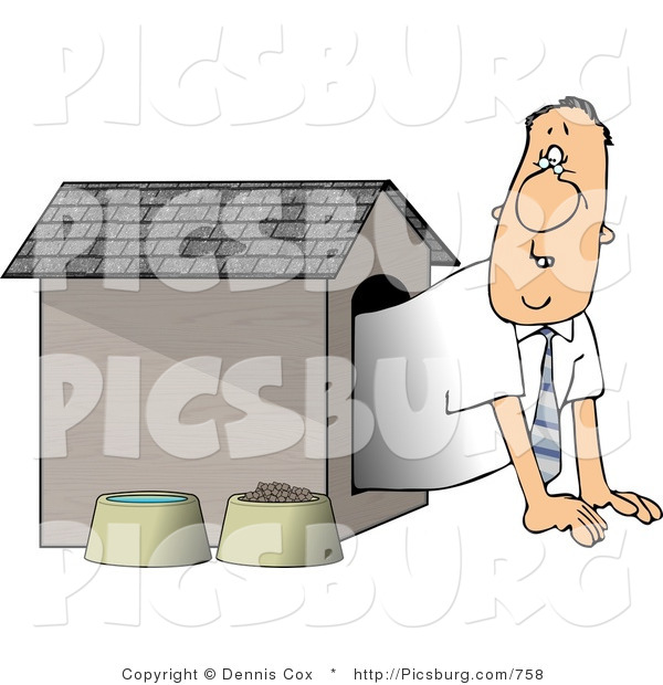 Clip Art of a Businessman in the Doghouse, Looking out with Worry