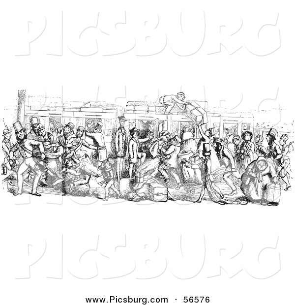 Clip Art of a Busy Mail Delivery Train - Black and White