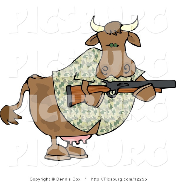 Clip Art of a Camouflaged Cow Holding a Hunting Rifle, Facing the Right