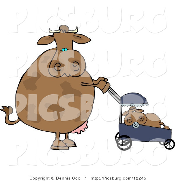 Clip Art of a Caring Mother Cow Pushing Her Calf in a Baby Stroller