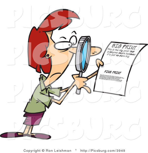 Clip Art of a Cautious Woman Using a Magnifying Glass to Read the Fine Print on a Document