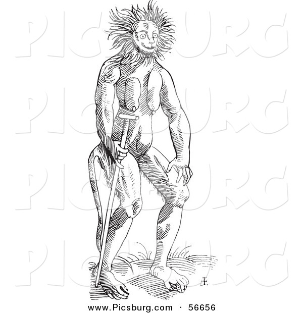 Clip Art of a Cercopithecus Wild Man Creature - Fantasy Black and White Line Drawing