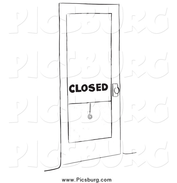Clip Art of a Closed Shop Black and White
