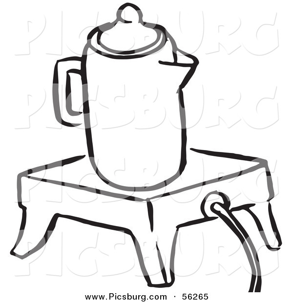 Clip Art of a Coffee Percolator Seated on an Electric Warmer - Black and White Line Art