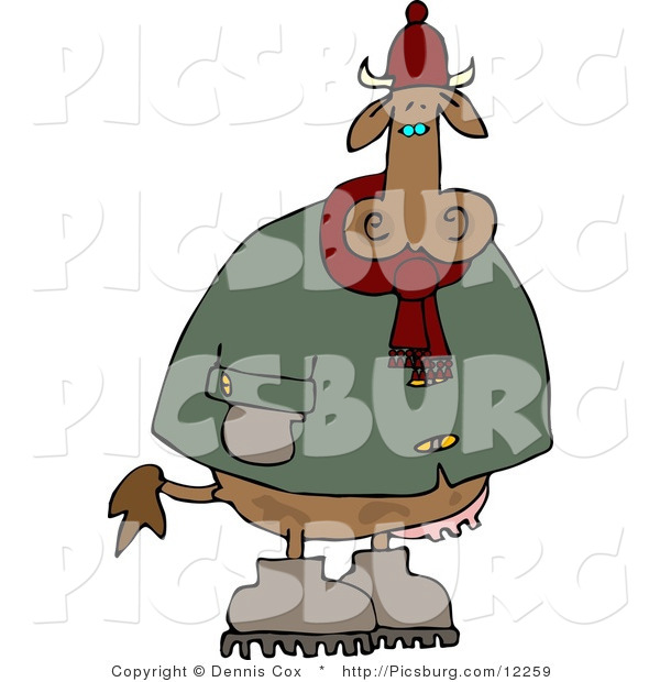 Clip Art of a Cold Cow Wearing Winter Clothing and Hat and Standing Outside