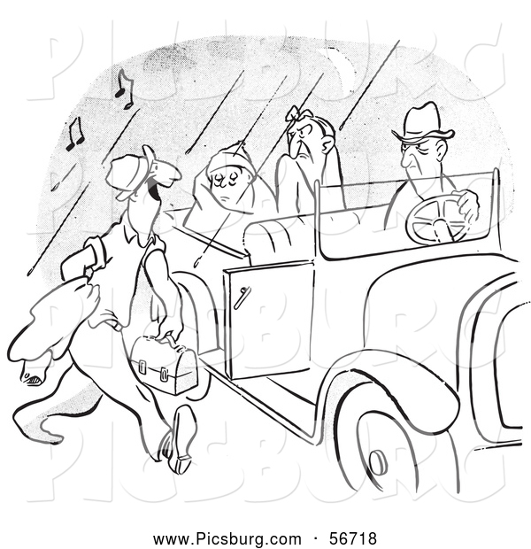 Clip Art of a Coloring Page of a Vintage Morning Person Approaching a Car Pool Ride of Grumpy People Black and White