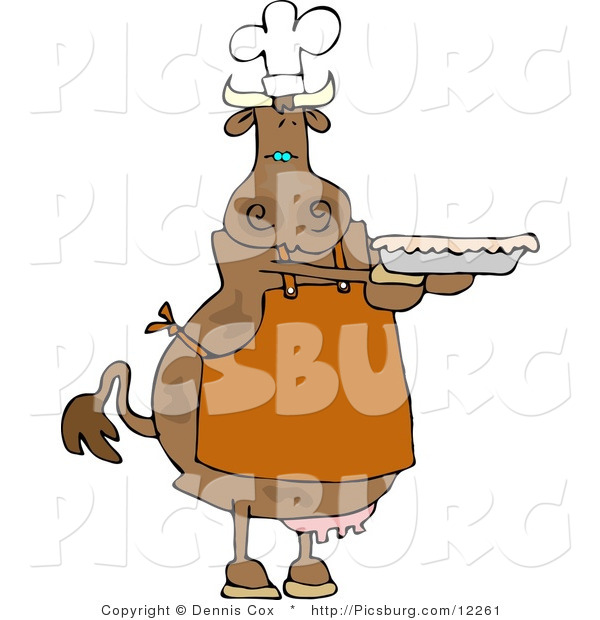 Clip Art of a Cow Baker Person Holding a Freshly Baked Pie