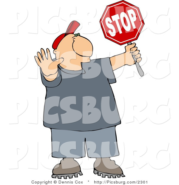 Clip Art of a Cross Guard Man Stopping Traffic so Children Can Cross the Street