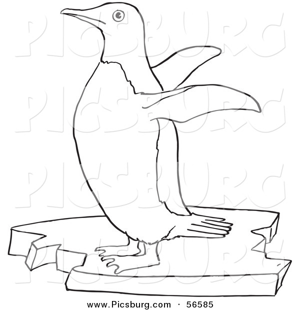 Clip Art of a Cute Penguin Flapping Wings on Floating Ice - Black and White Line Art
