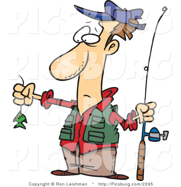 Clip Art of a Disappointed Wide Eyed Fisherman with a Very Small Fish on His Fishing Line