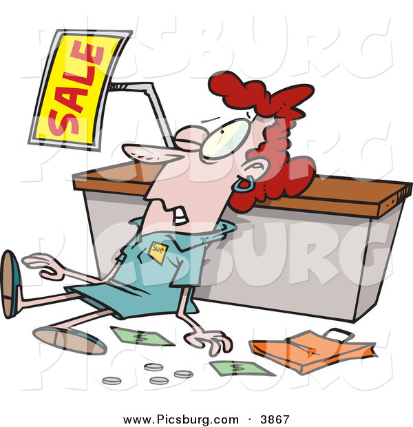 Clip Art of a Employee Trampled During a Sale for Christmas