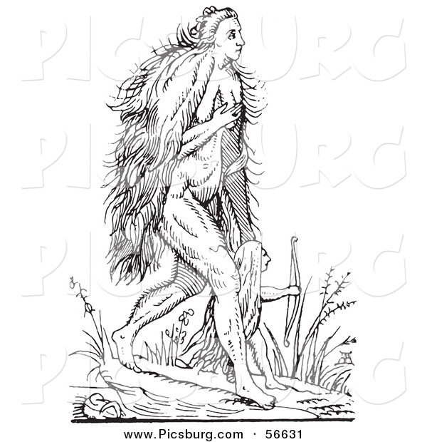Clip Art of a Fantasy Hairy Woman Creature Walking with a Child - Black and White Line Drawing