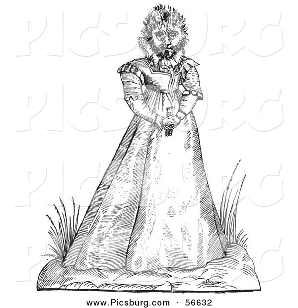 Clip Art of a Fantasy Hairy Woman Maphoon Creature - Black and White Line Drawing